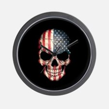 American Flag Skull Wall Clock