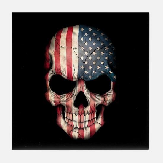 American Flag Skull Tile Coaster