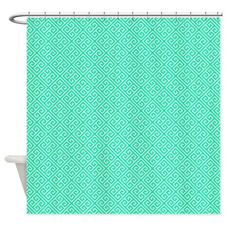 Teal Blue Square Greek Key Pattern Shower Curtain By Cierraspatterndecorandgifts