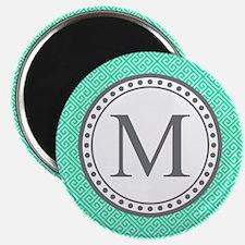 Monogram Teal Square Greek Key Pattern Magnets