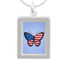 Blue American Butterfly Flag Necklaces