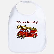 Fire Truck Birthday Bib