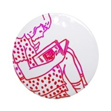 Girl in a dress, reading Ornament (Round)