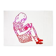 Girl in a dress, reading 5'x7'Area Rug
