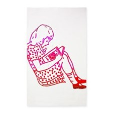 Girl in a dress, reading 3'x5' Area Rug