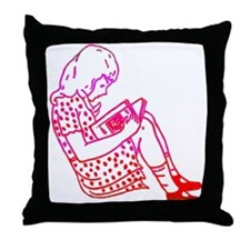 Girl in a dress, reading Throw Pillow