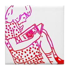Girl in a dress, reading Tile Coaster