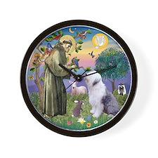 St. Francis and Old English Sheepdog Wall Clock