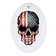 American Flag Skull Ornament (Oval)