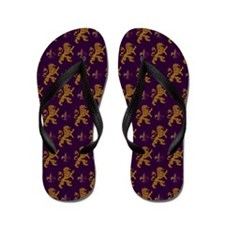 Gold Lions Fleurs On Purple Flip Flops