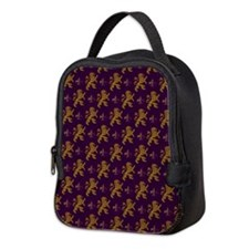 Gold Lions Fleurs On Purple Neoprene Lunch Bag