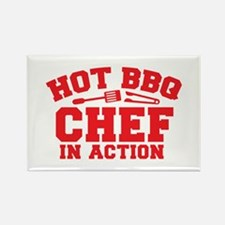 Hot BBQ Chef in Action Magnets