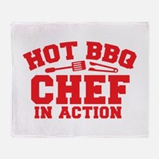 Hot BBQ Chef in Action Throw Blanket