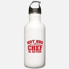 Hot BBQ Chef in Action Sports Water Bottle