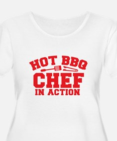 Hot BBQ Chef in Action Plus Size T-Shirt