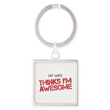 Wife Awesome Square Keychain