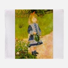 Girl With a Watering Can Throw Blanket