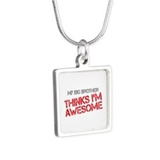 Big Brother Awesome Silver Square Necklace