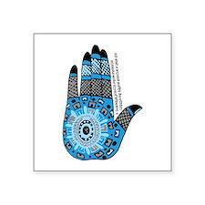 "Blue Sanskrit Palm Henna Square Sticker 3"" x 3"""