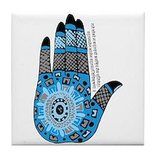 Blue Sanskrit Palm Henna Tile Coaster