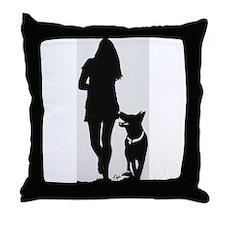 German Shepherd Heel Silhoutte Throw Pillow