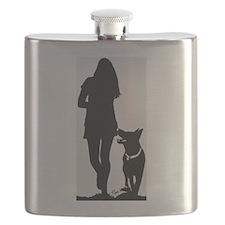 German Shepherd Heel Silhoutte Flask