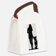 German Shepherd Heel Silhoutte Canvas Lunch Bag