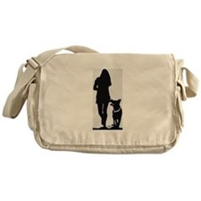 German Shepherd Heel Silhoutte Messenger Bag