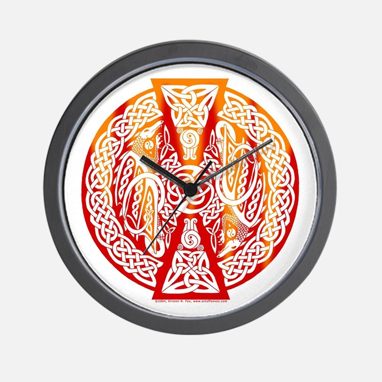 Celtic Knotwork Dragons Fire Wall Clock