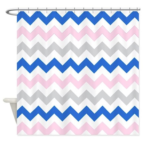 Navy Pink And Gray Chevrons Shower Curtain By