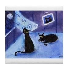 BLACK CATS see moon Tile Coaster