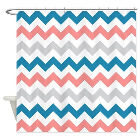 Teal Coral And Gray Chevrons Shower Curtain By