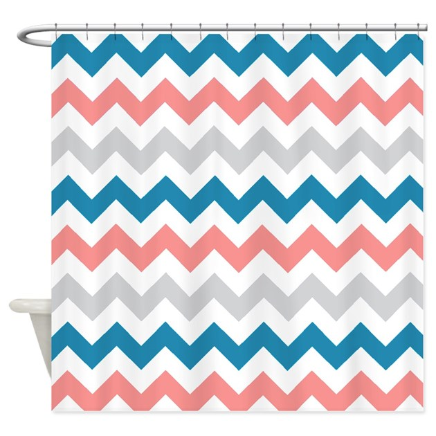 Teal Coral And Gray Chevrons Shower Curtain By Laughoutlouddesigns1