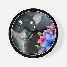 Dog 80 black Chihuahua Wall Clock