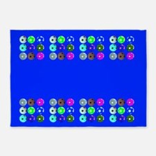 Soccer Desiger Blue Football Futbol 23a 5'x7'Area