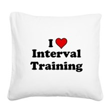 I Heart Interval Training Square Canvas Pillow