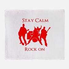 Stay Calm Rock On Mens Music T Shirt Throw Blanket