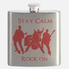 Stay Calm Rock On Mens Music T Shirt Flask