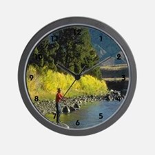 fly fishing the river Wall Clock