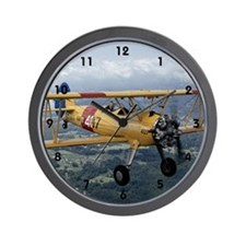 flying biplane wall clock