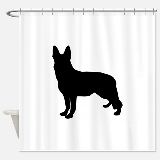 German Shepherd Silhouette Shower Curtain