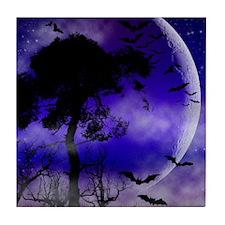 Purple Night Moon Tile Coaster