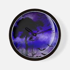 Purple Night Moon Wall Clock