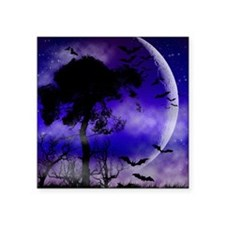 "Purple Night Moon Square Sticker 3"" x 3"""