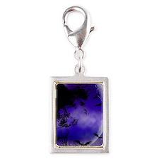 Purple Night Moon Silver Portrait Charm