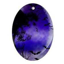 Purple Night Moon Oval Ornament