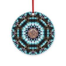 Om Shanti Fractals Round Ornament