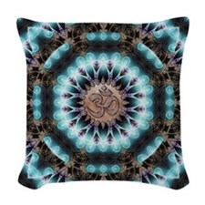 Om Shanti Fractals Woven Throw Pillow