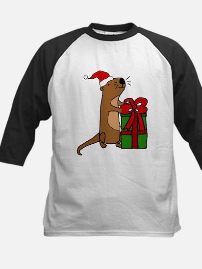Funny Sea Otter with Christmas Gif Baseball Jersey
