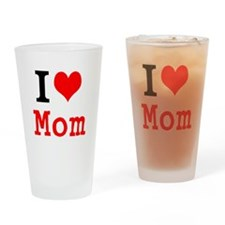 I Love Mom Drinking Glass